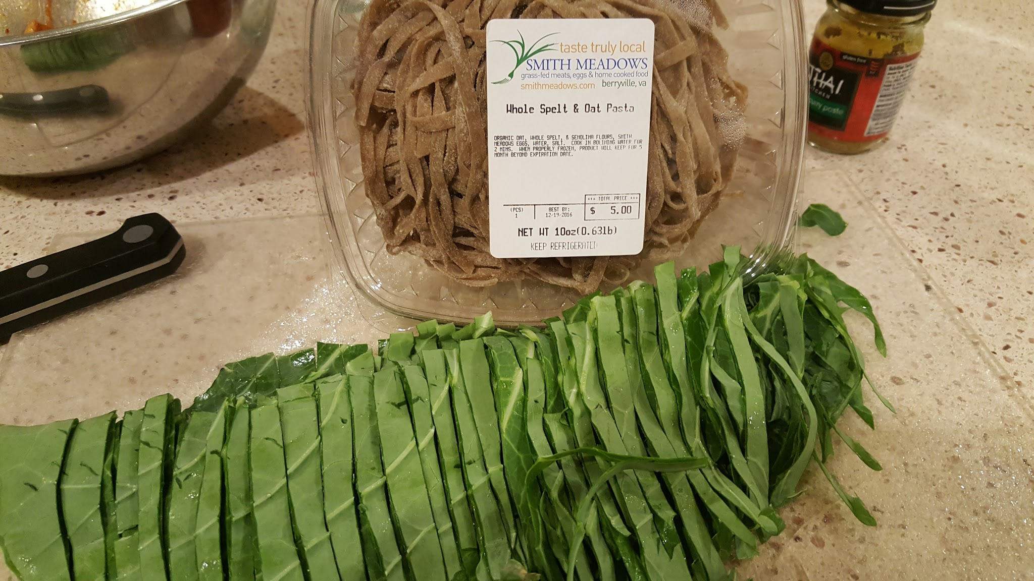 Cut Greens to Same Size as Noodles