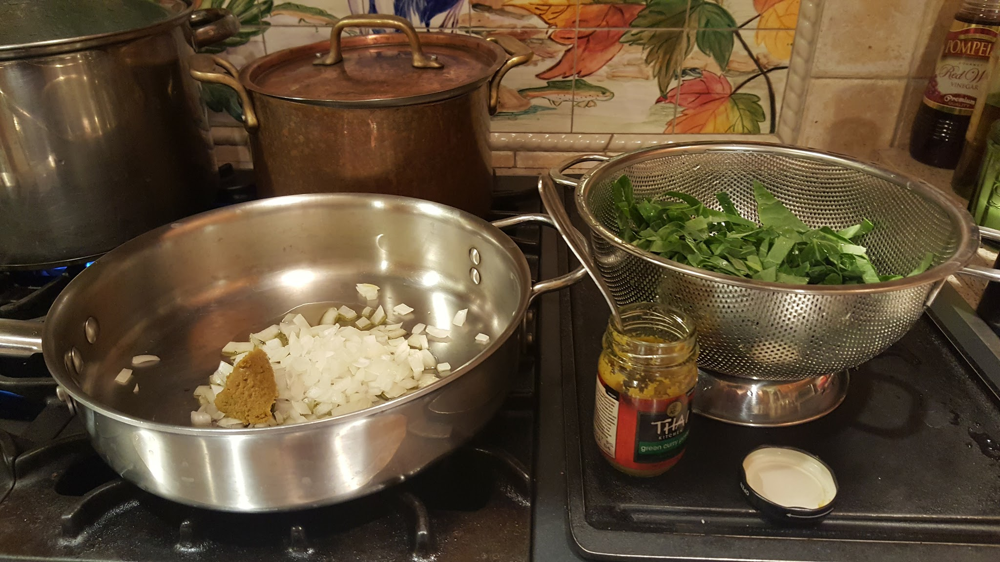 Sauté Greens in Olive Oil, Onions & 1 TBSP Curry Paste