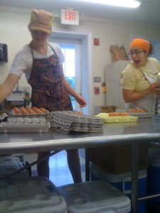 Kate Westlund and Lynsi Pasutti pack eggs at Smith Meadows Kitchen