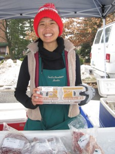 Maribel Yamat sells our eggs at Falls Church Farmers Market