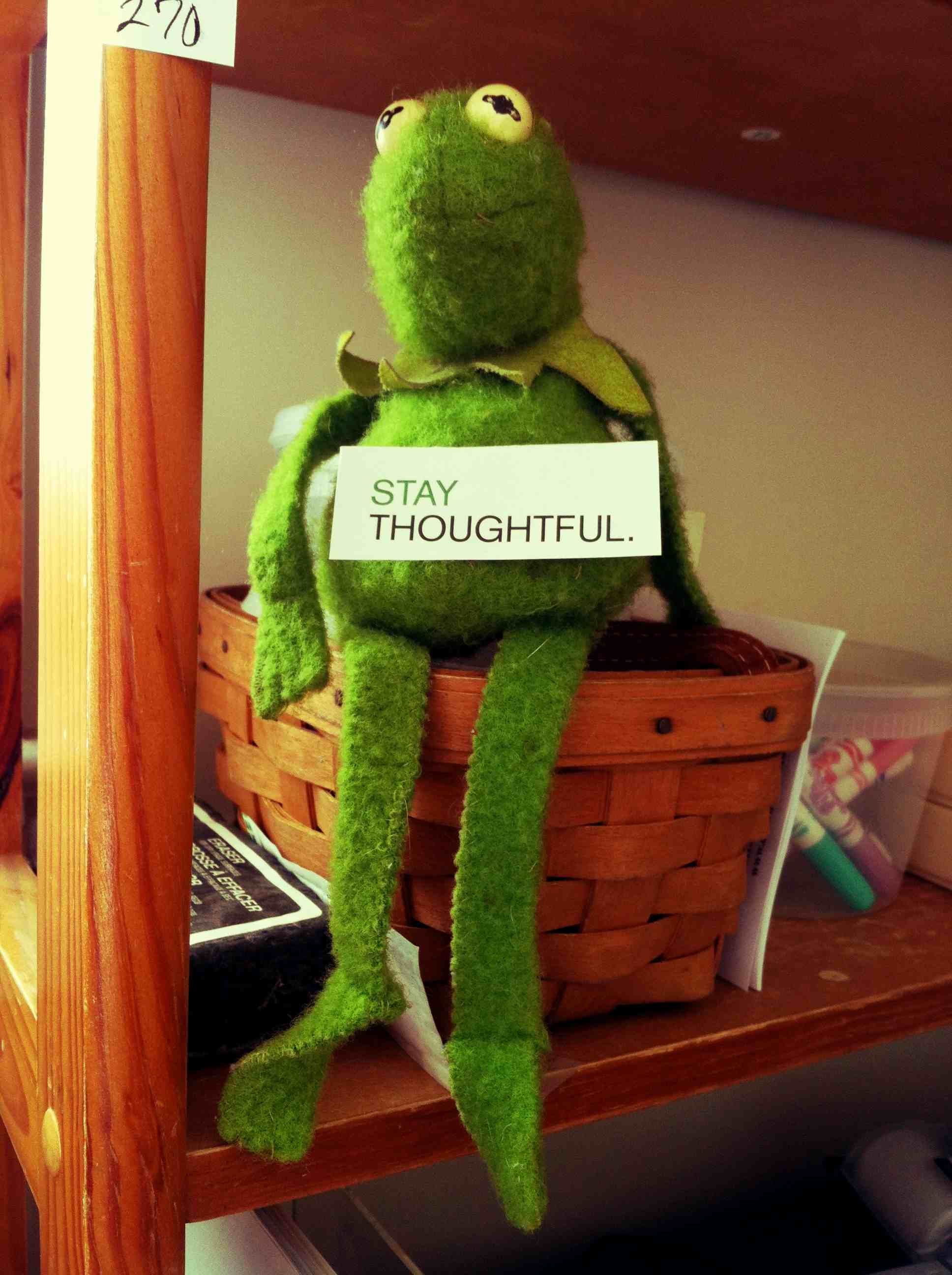 We keep Kermit in our office with this little sign taped to his belly: 'Stay Thoughtful.'  What might at first seem like failure is often just an opportunity to learn, or improve.  Plus, we just like the Muppets.