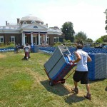 Known as the 'Nickel View' (minted on the back of the nickel), Monticello prepares for the 4th of July.  Here, crews move chairs for the celebration, where dozens of people will take the oath to become naturalized United States Citizens.