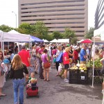 A busy day at our Arlington farmers market, packed with people even during 95 degree July days.  Customers are drawn to this market for its freshness, selection, and diversity of local farmers, all within 125 miles of the city.