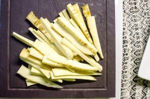 Rough julienne parsnips