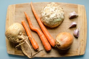Root vegetables for lamb stew, parsnip, carrot, celeriac, onion, garlic