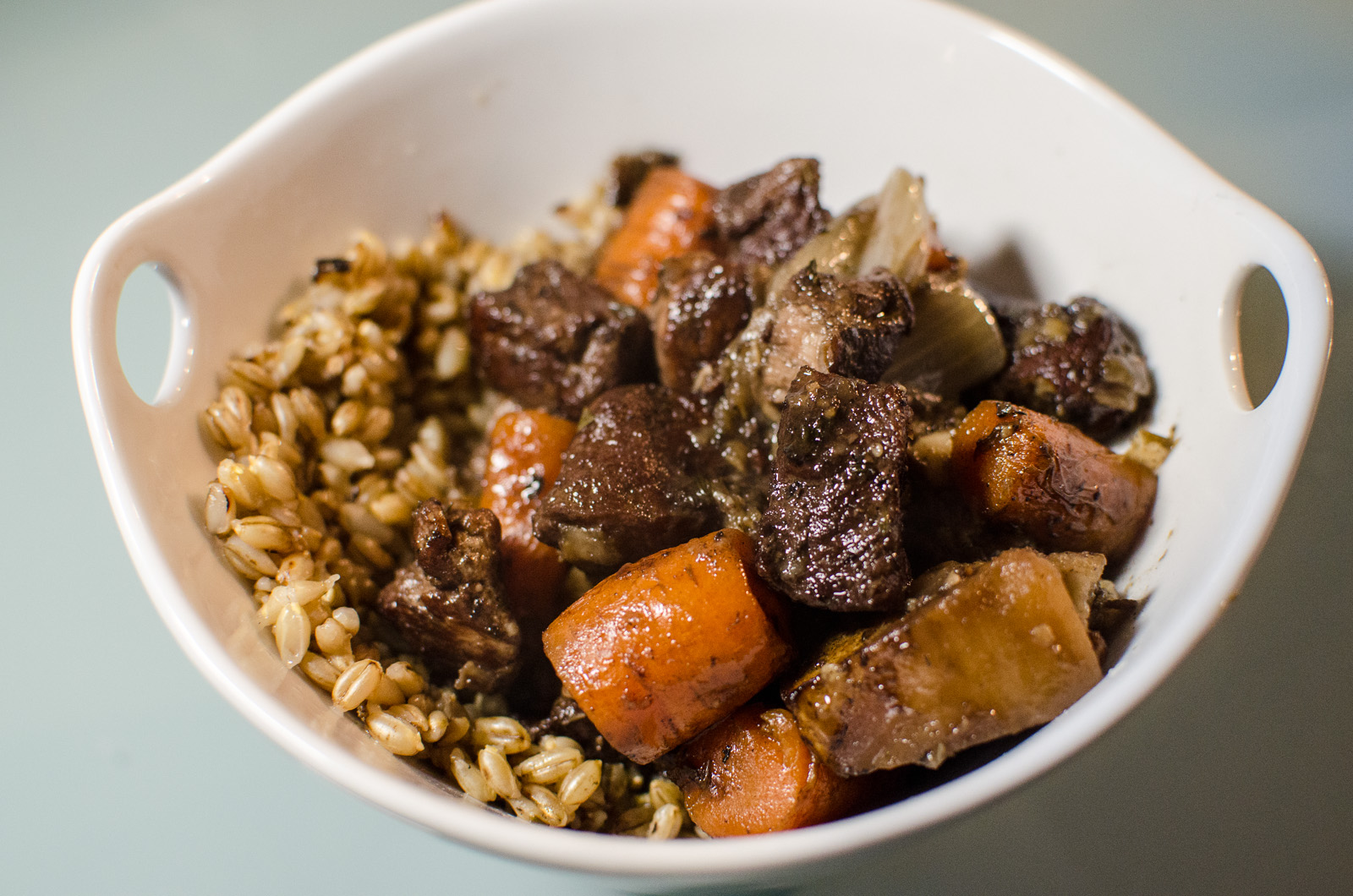 A bowl of Smith Meadows lamb stew with barley