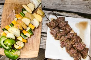 Local organic vegetable skewers and free-range beef skewers