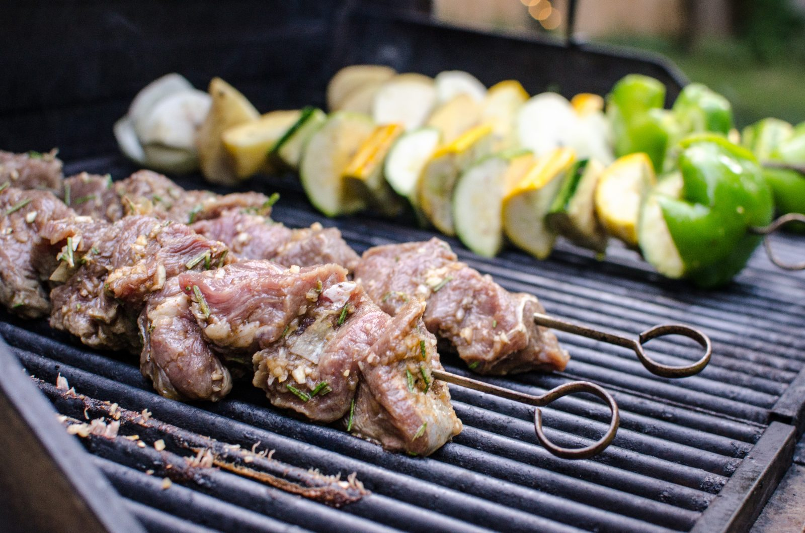 grass-fed beef kebabs on the grill