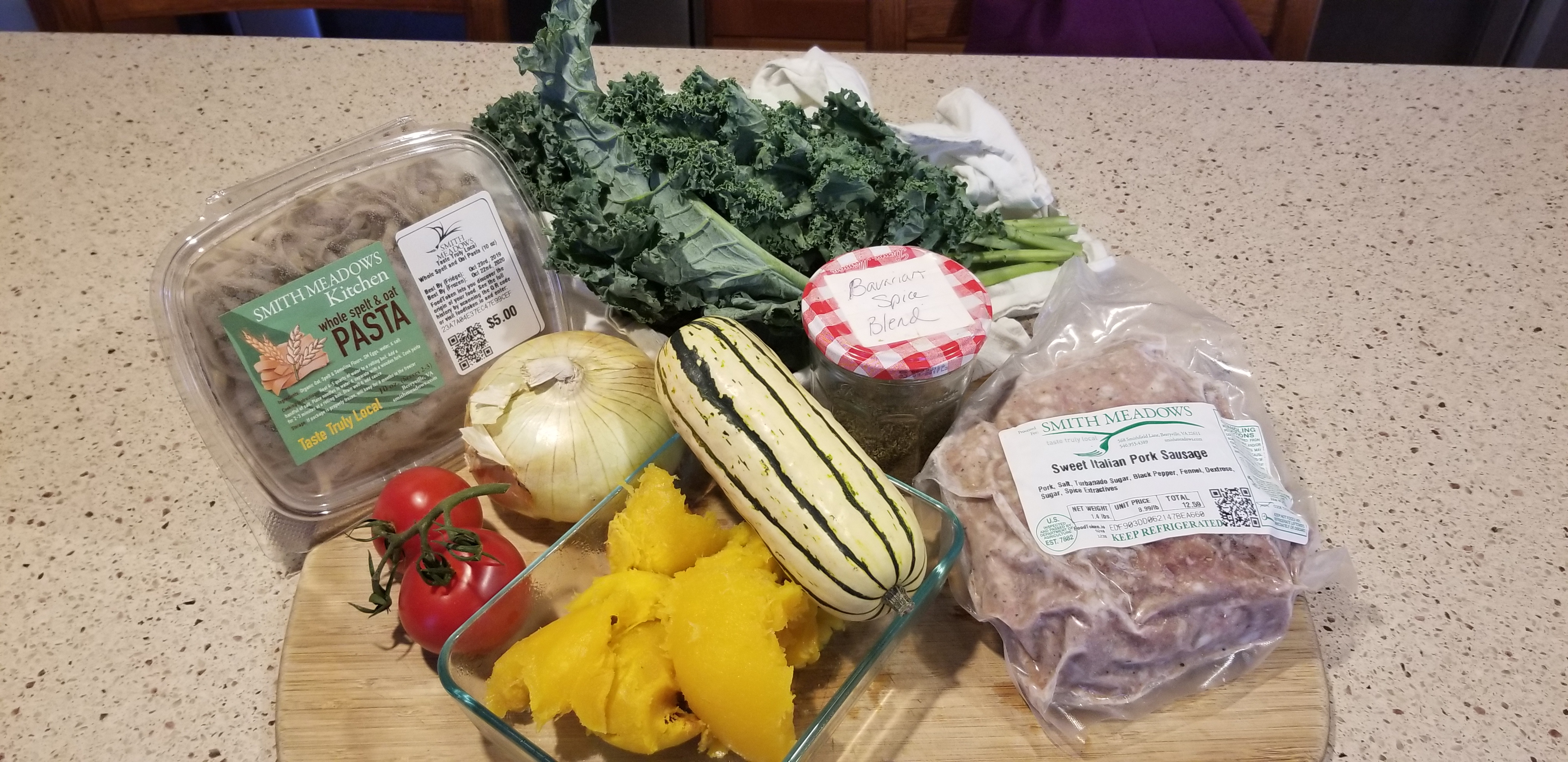 Smith Meadows Farm Ingredients for Pasta with Autumn Vegetables